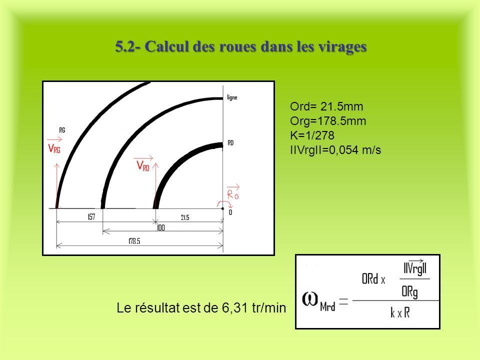 Ord= 21.5mm Org=178.5mm K=1/278 IIVrgII=0,054 m/s 5.2- Calcul des roues dans les virages Le résultat est de 6,31 tr/min
