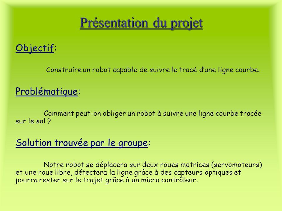 Objectif: Construire un robot capable de suivre le tracé dune ligne courbe. Problématique: Comment peut-on obliger un robot à suivre une ligne courbe