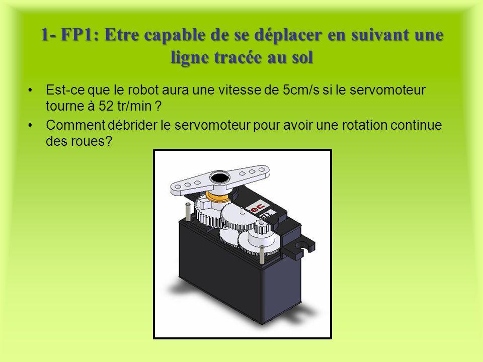 1- FP1: Etre capable de se déplacer en suivant une ligne tracée au sol Est-ce que le robot aura une vitesse de 5cm/s si le servomoteur tourne à 52 tr/