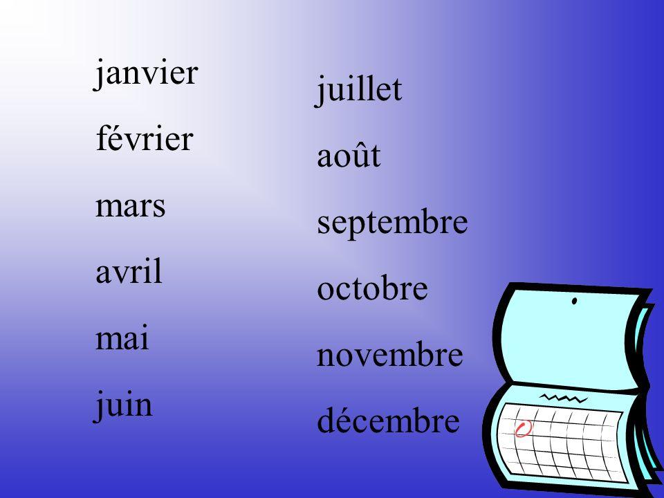 janvier février mars avril mai juin juillet août septembre octobre novembre décembre