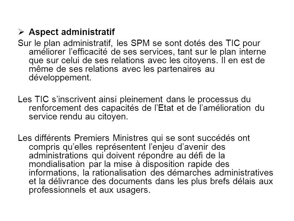 Aspect administratif Sur le plan administratif, les SPM se sont dotés des TIC pour améliorer lefficacité de ses services, tant sur le plan interne que