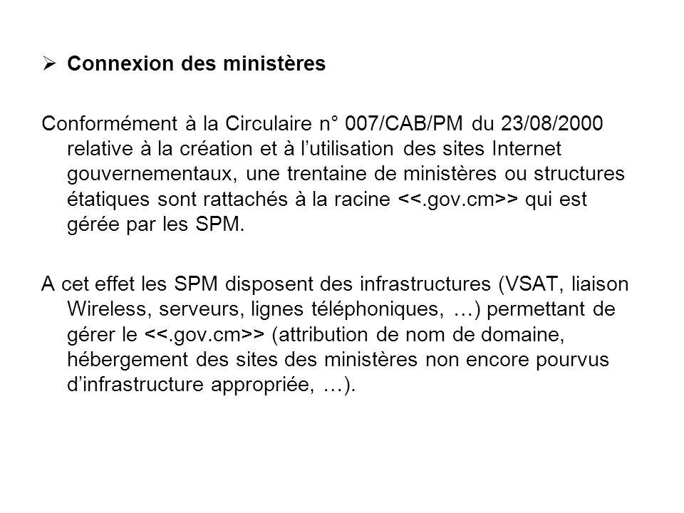 Connexion des ministères Conformément à la Circulaire n° 007/CAB/PM du 23/08/2000 relative à la création et à lutilisation des sites Internet gouverne