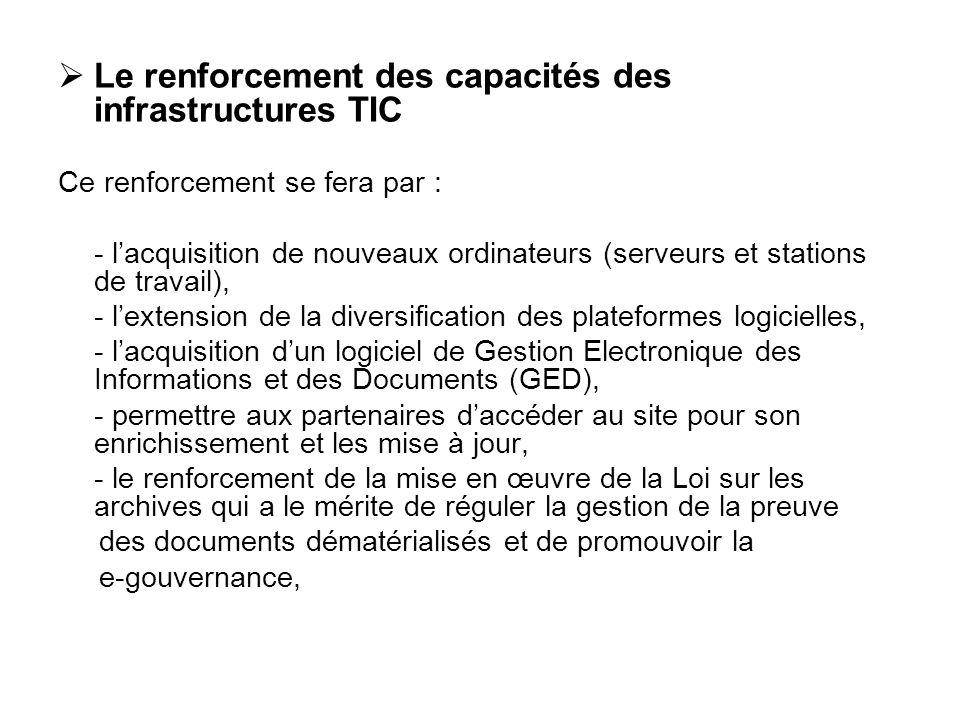 Le renforcement des capacités des infrastructures TIC Ce renforcement se fera par : - lacquisition de nouveaux ordinateurs (serveurs et stations de tr