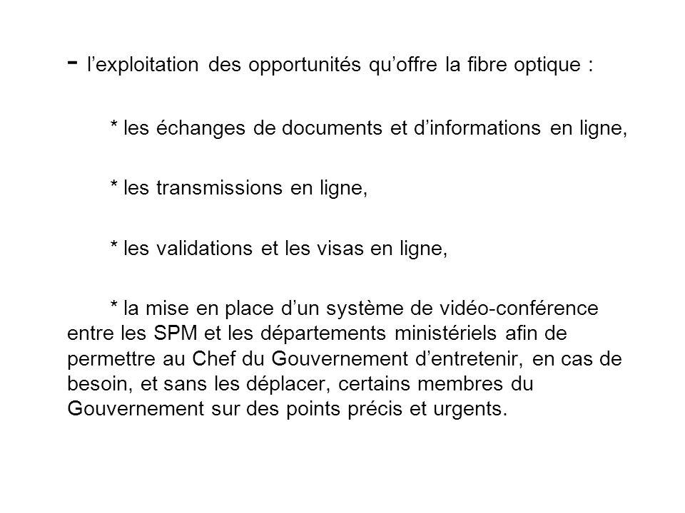- lexploitation des opportunités quoffre la fibre optique : * les échanges de documents et dinformations en ligne, * les transmissions en ligne, * les