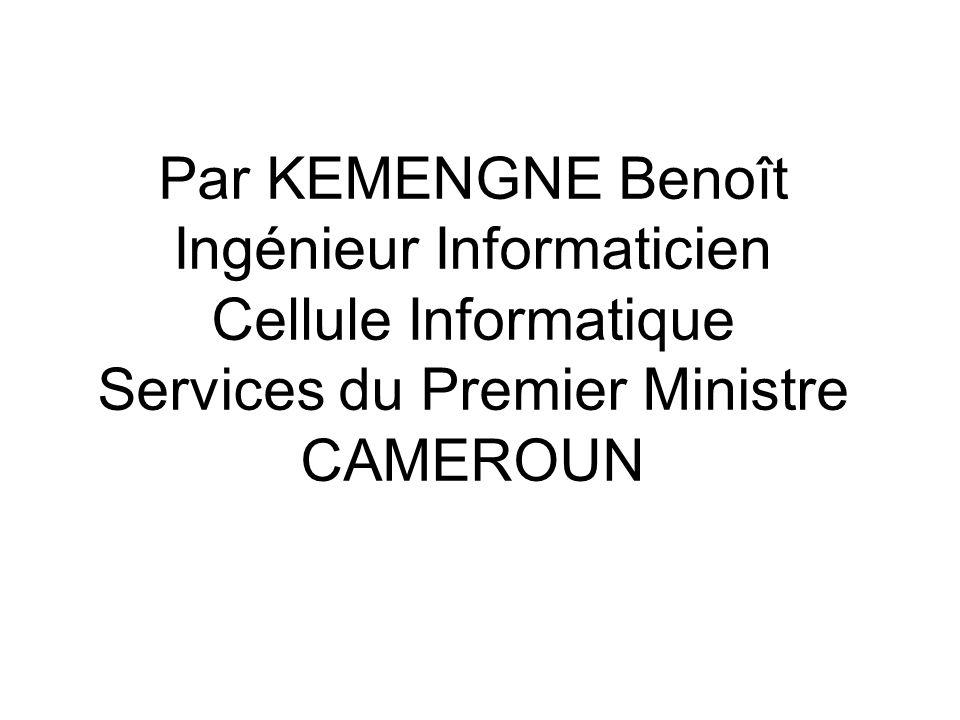 Connexion des ministères Conformément à la Circulaire n° 007/CAB/PM du 23/08/2000 relative à la création et à lutilisation des sites Internet gouvernementaux, une trentaine de ministères ou structures étatiques sont rattachés à la racine > qui est gérée par les SPM.