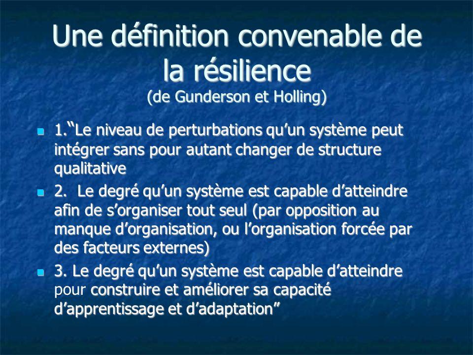 Une définition convenable de la résilience (de Gunderson et Holling) 1.