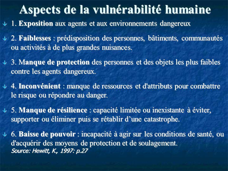 Aspects de la vulnérabilité humaine 1. Exposition aux agents et aux environnements dangereux 1.