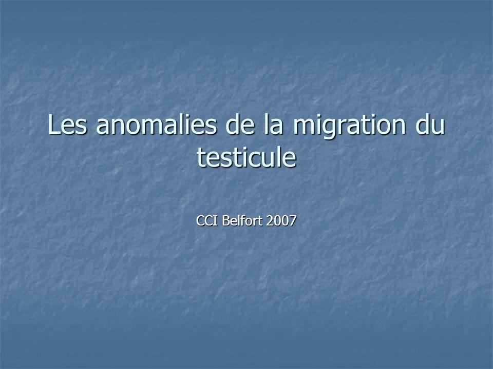 Les anomalies de la migration du testicule CCI Belfort 2007