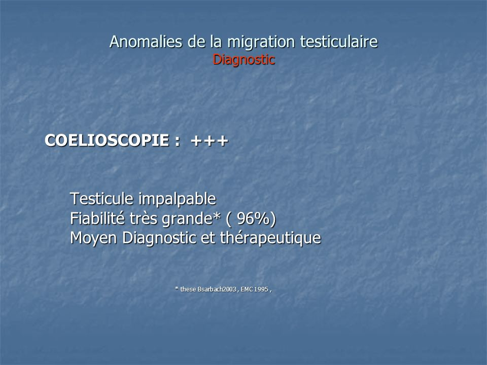 Anomalies de la migration testiculaire Diagnostic COELIOSCOPIE : +++ COELIOSCOPIE : +++ Testicule impalpable Testicule impalpable Fiabilité très grand