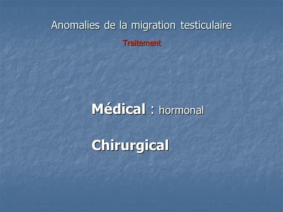 Anomalies de la migration testiculaire Traitement Médical : hormonal Médical : hormonal Chirurgical Chirurgical