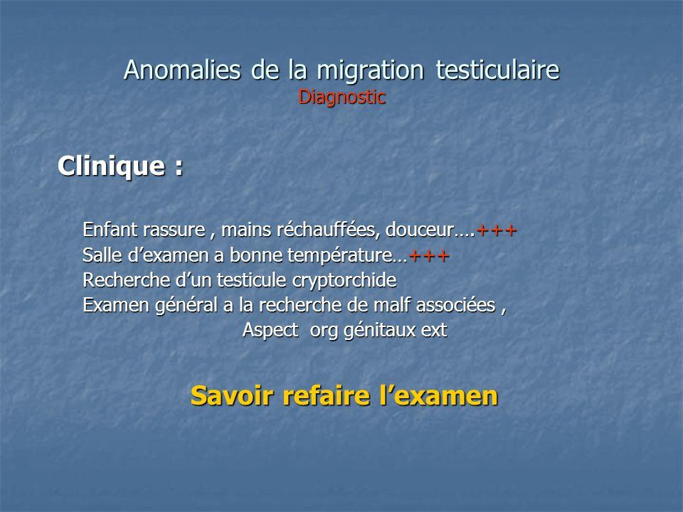 Anomalies de la migration testiculaire Diagnostic Clinique : Clinique : Enfant rassure, mains réchauffées, douceur….+++ Enfant rassure, mains réchauff