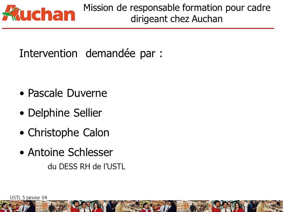 USTL 5 janvier 04 Mission de responsable formation pour cadre dirigeant chez Auchan Intervention demandée par : Pascale Duverne Delphine Sellier Chris