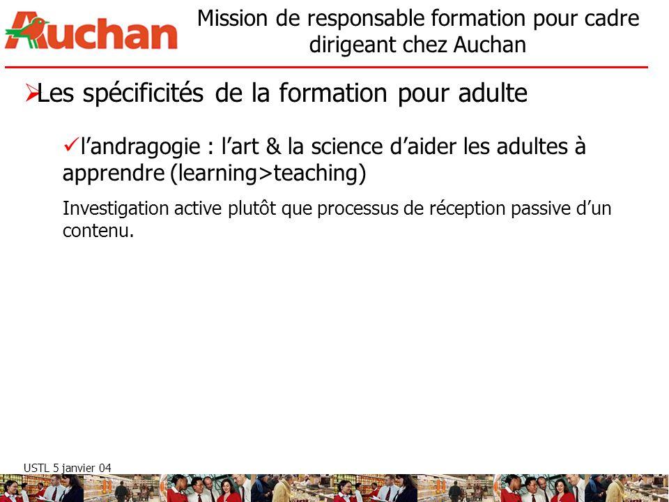 USTL 5 janvier 04 Mission de responsable formation pour cadre dirigeant chez Auchan Les spécificités de la formation pour adulte landragogie : lart &