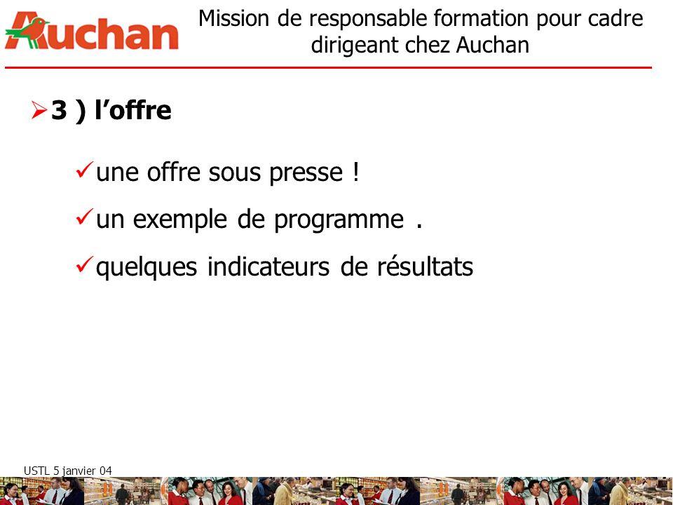 USTL 5 janvier 04 Mission de responsable formation pour cadre dirigeant chez Auchan 3 ) loffre une offre sous presse ! un exemple de programme. quelqu