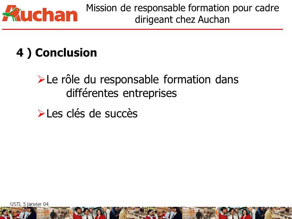 USTL 5 janvier 04 Mission de responsable formation pour cadre dirigeant chez Auchan 4 ) Conclusion Le rôle du responsable formation dans différentes e