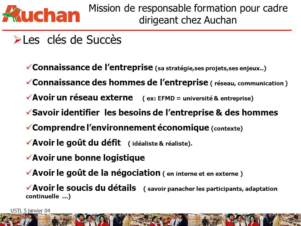 USTL 5 janvier 04 Mission de responsable formation pour cadre dirigeant chez Auchan Les clés de Succès Connaissance de lentreprise (sa stratégie,ses p