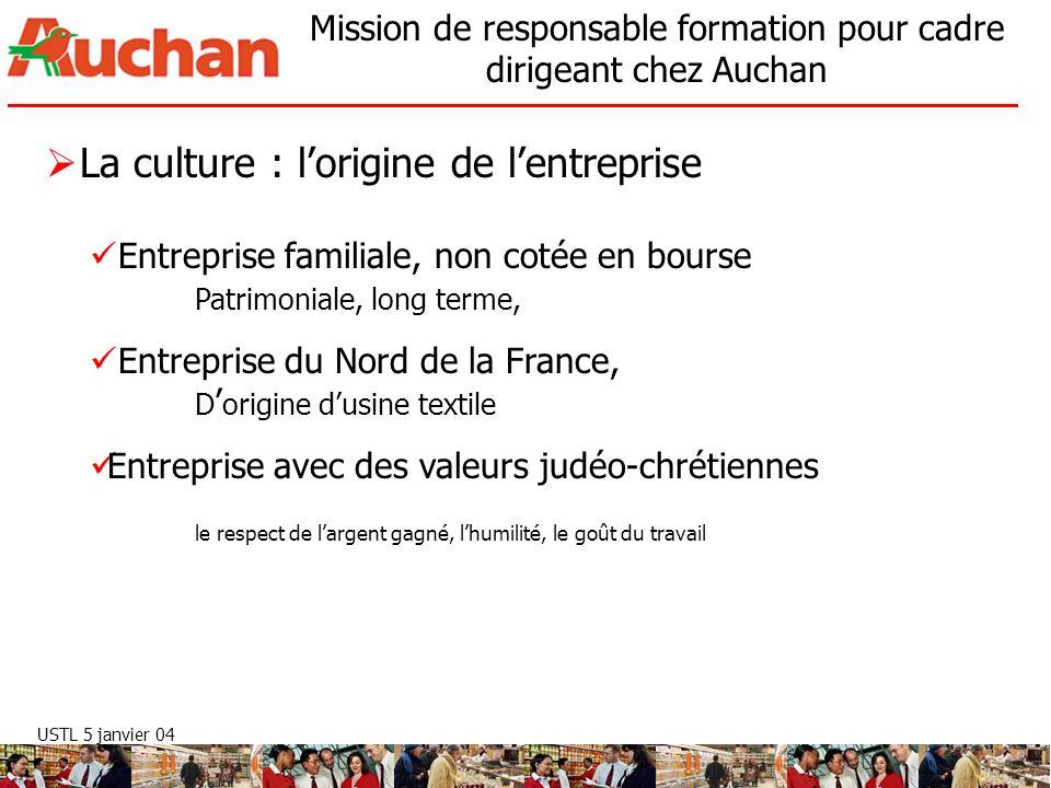 USTL 5 janvier 04 Mission de responsable formation pour cadre dirigeant chez Auchan La culture : lorigine de lentreprise Entreprise familiale, non cot