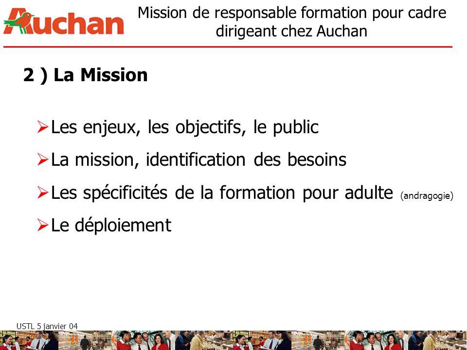 USTL 5 janvier 04 Mission de responsable formation pour cadre dirigeant chez Auchan Les enjeux, les objectifs, le public Les formations doivent répondre aux évolutions de lenvironnement, accompagner la stratégie de lentreprise et ses projets.