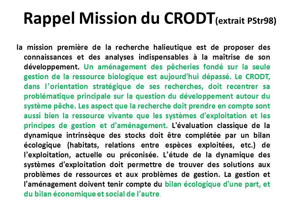 Rappel Mission du CRODT (extrait PStr98) la mission première de la recherche halieutique est de proposer des connaissances et des analyses indispensab