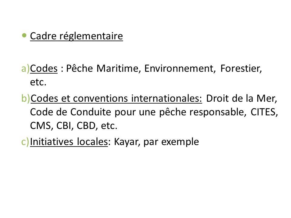 Cadre réglementaire a)Codes : Pêche Maritime, Environnement, Forestier, etc. b)Codes et conventions internationales: Droit de la Mer, Code de Conduite