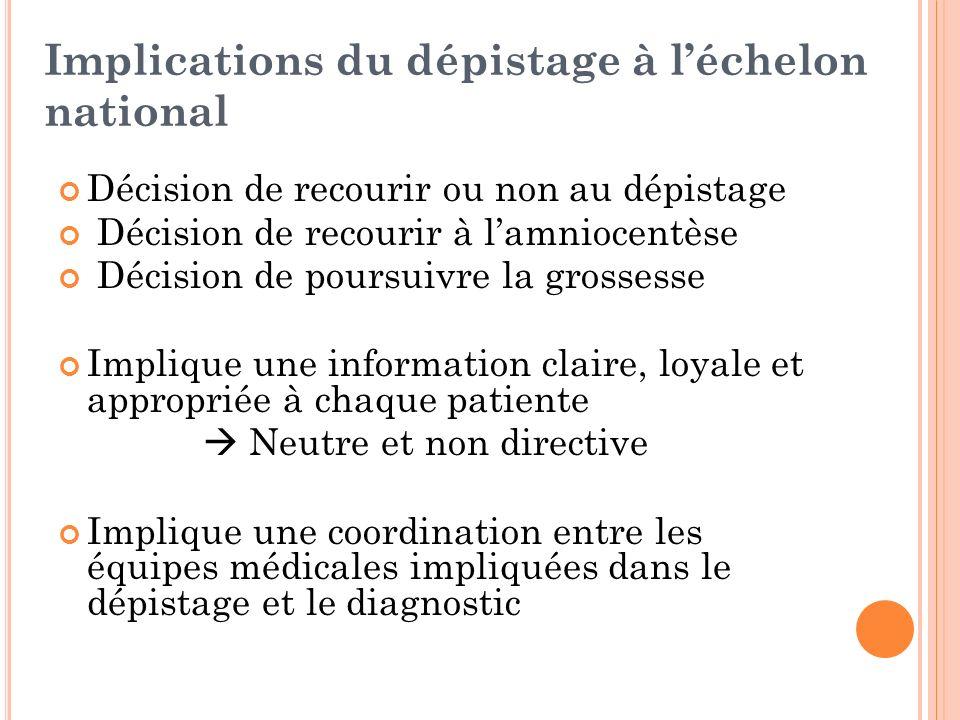 Implications du dépistage à léchelon national Décision de recourir ou non au dépistage Décision de recourir à lamniocentèse Décision de poursuivre la