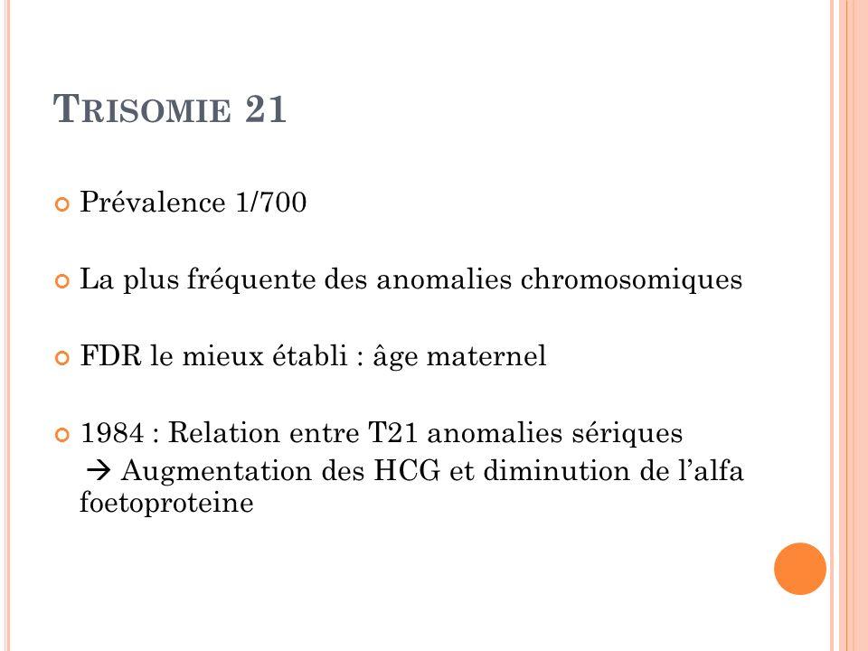 T RISOMIE 21 Prévalence 1/700 La plus fréquente des anomalies chromosomiques FDR le mieux établi : âge maternel 1984 : Relation entre T21 anomalies sé