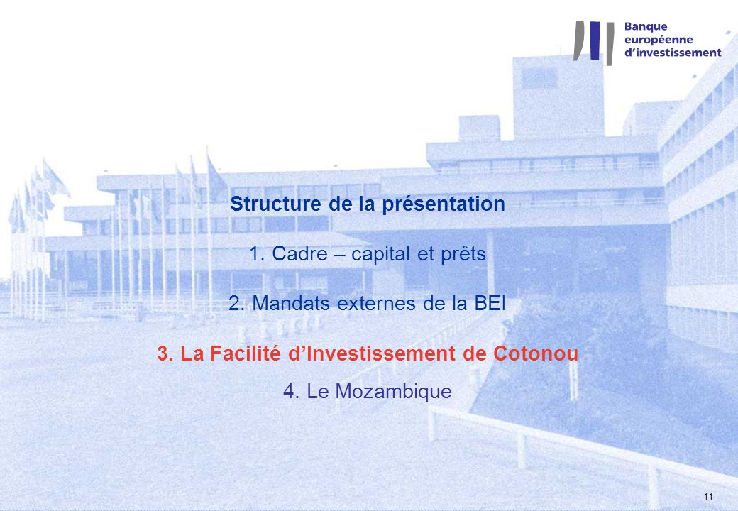2 mars 2004 11 Structure de la présentation 1. Cadre – capital et prêts 2. Mandats externes de la BEI 3. La Facilité dInvestissement de Cotonou 4. Le