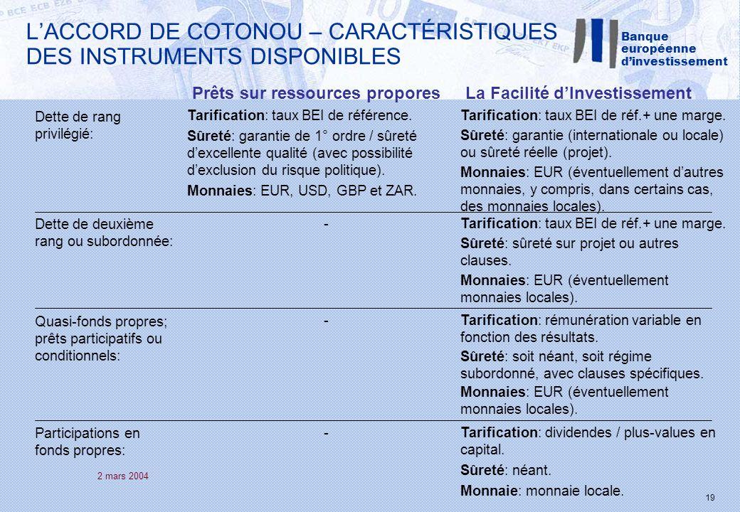 2 mars 2004 19 LACCORD DE COTONOU – CARACTÉRISTIQUES DES INSTRUMENTS DISPONIBLES Dette de rang privilégié: Prêts sur ressources proporesLa Facilité dInvestissement Tarification: taux BEI de référence.