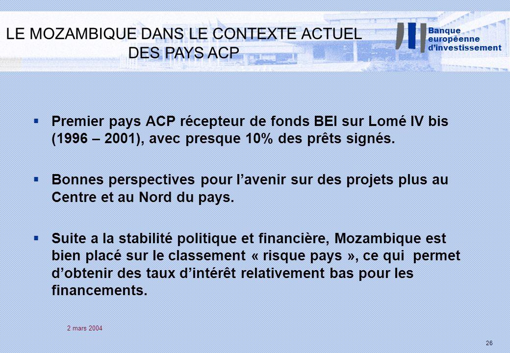 2 mars 2004 26 Premier pays ACP récepteur de fonds BEI sur Lomé IV bis (1996 – 2001), avec presque 10% des prêts signés.