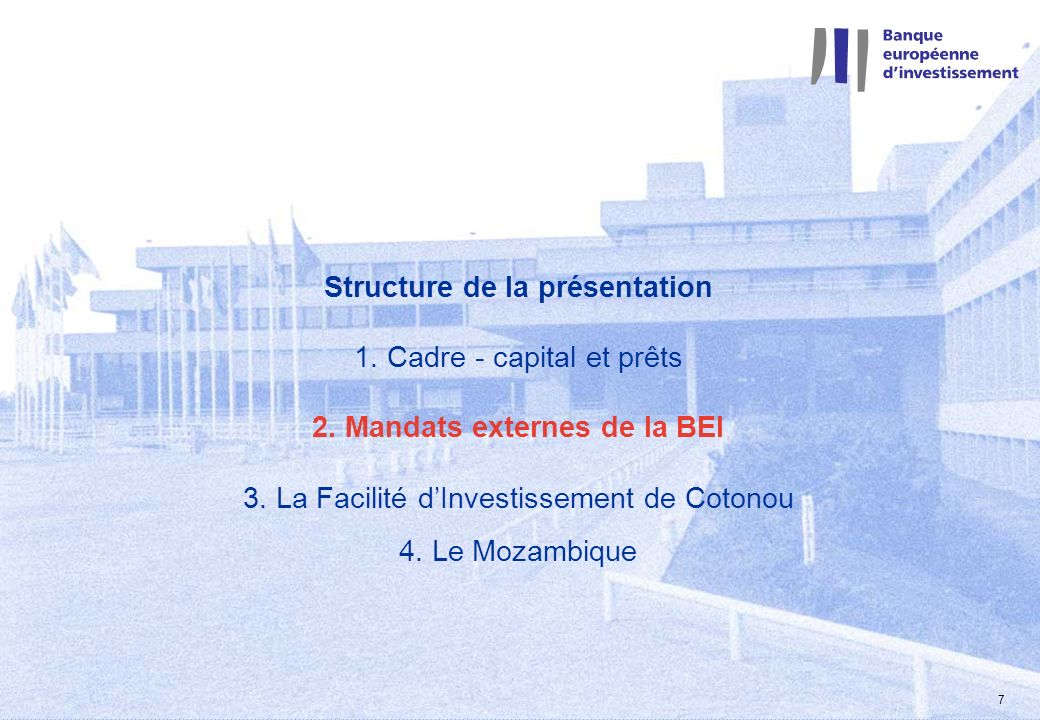 2 mars 2004 7 Structure de la présentation 1. Cadre - capital et prêts 2. Mandats externes de la BEI 3. La Facilité dInvestissement de Cotonou 4. Le M