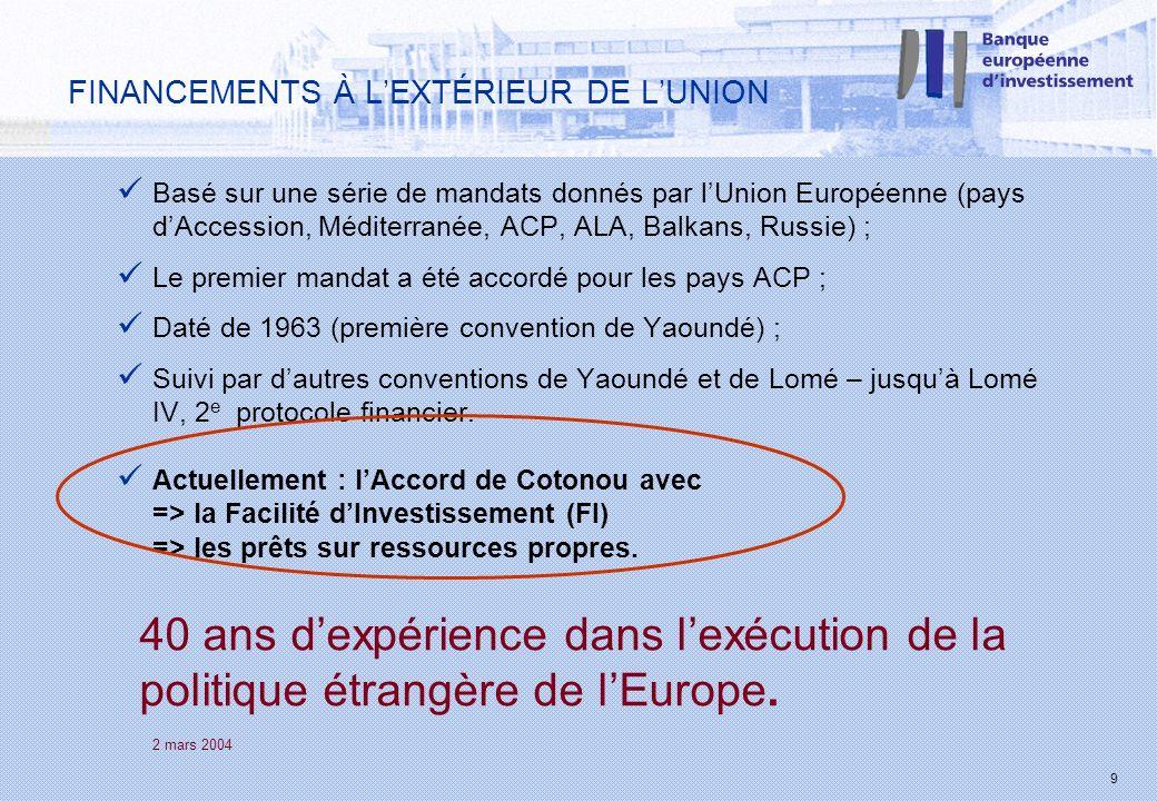 2 mars 2004 9 FINANCEMENTS À LEXTÉRIEUR DE LUNION Basé sur une série de mandats donnés par lUnion Européenne (pays dAccession, Méditerranée, ACP, ALA,