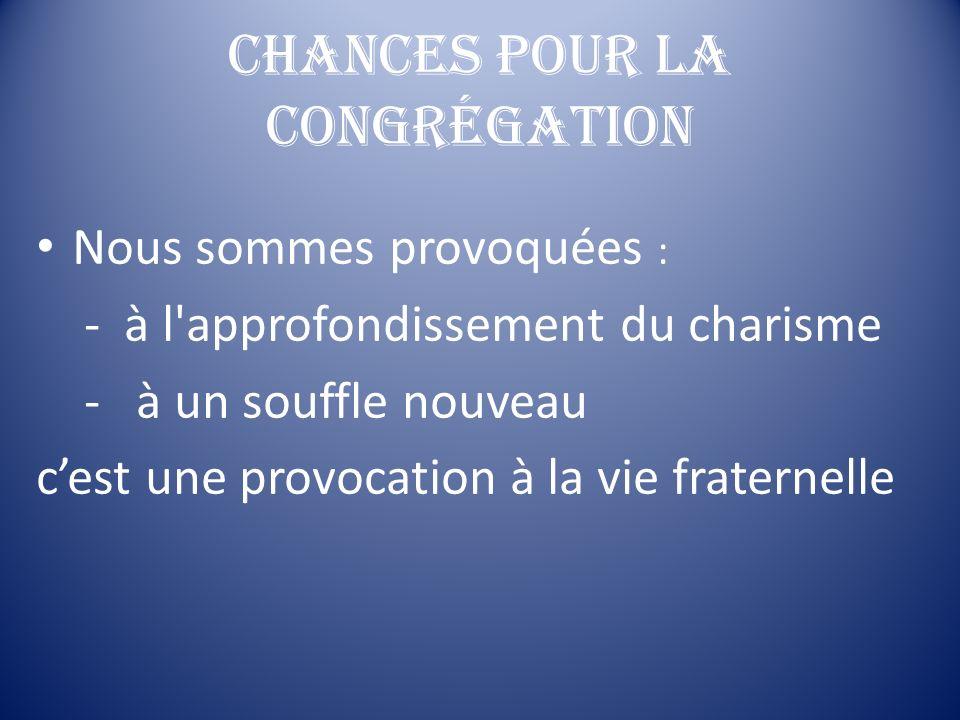 Chances pour la Congrégation Nous sommes provoquées : - à l'approfondissement du charisme - à un souffle nouveau cest une provocation à la vie fratern