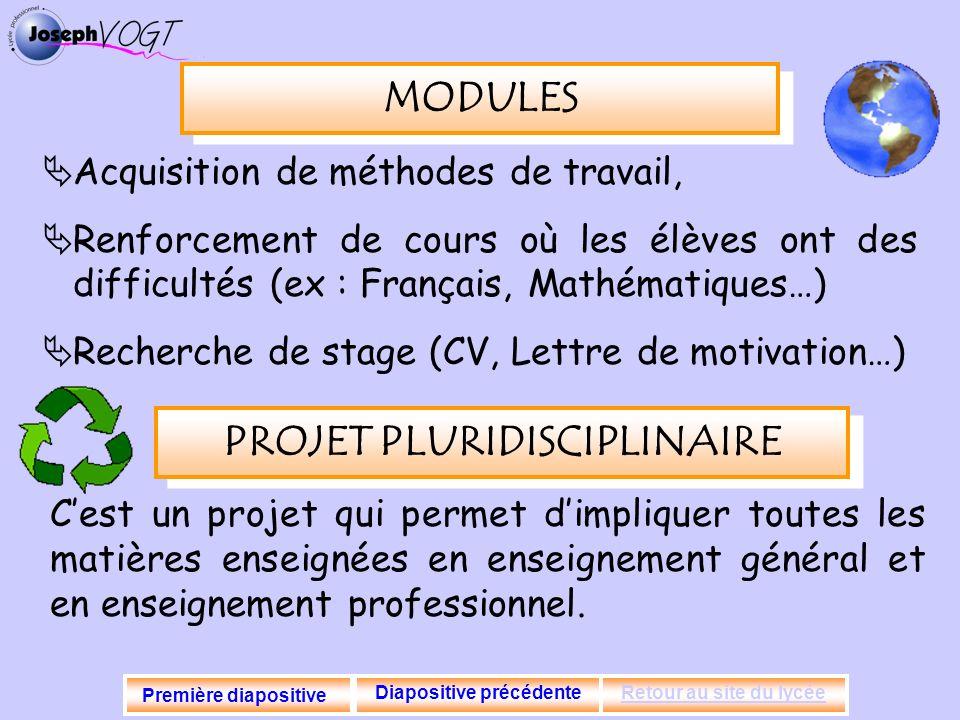 MODULES Acquisition de méthodes de travail, Renforcement de cours où les élèves ont des difficultés (ex : Français, Mathématiques…) Recherche de stage