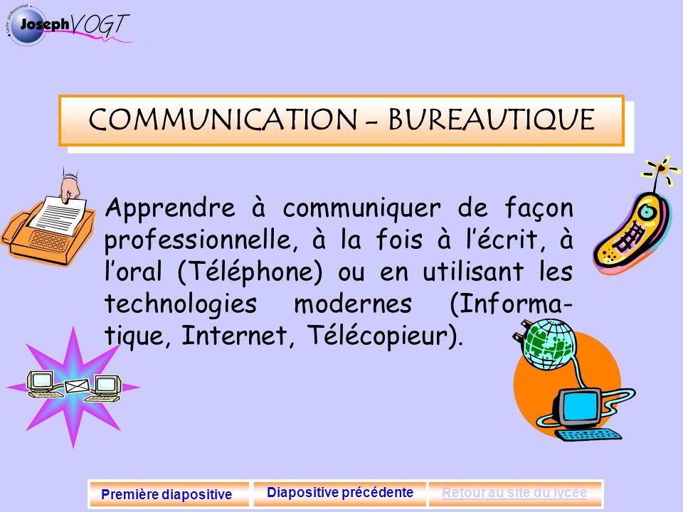COMMUNICATION - BUREAUTIQUE Apprendre à communiquer de façon professionnelle, à la fois à lécrit, à loral (Téléphone) ou en utilisant les technologies