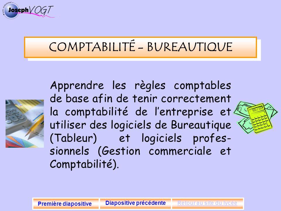 COMPTABILITÉ - BUREAUTIQUE Apprendre les règles comptables de base afin de tenir correctement la comptabilité de lentreprise et utiliser des logiciels