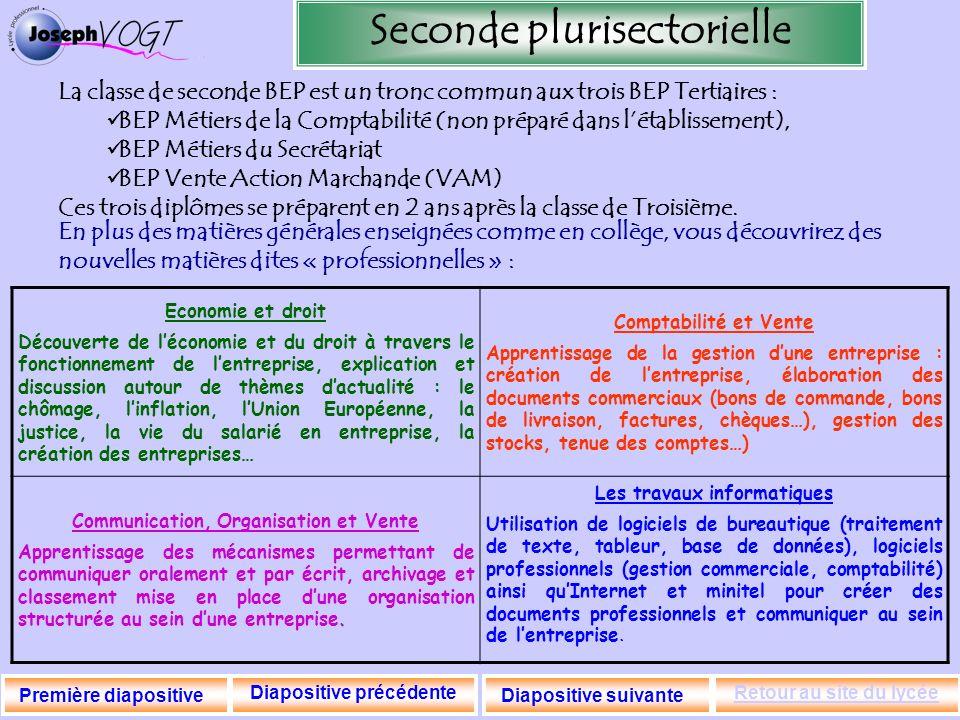 Seconde plurisectorielle La classe de seconde BEP est un tronc commun aux trois BEP Tertiaires : BEP Métiers de la Comptabilité (non préparé dans léta