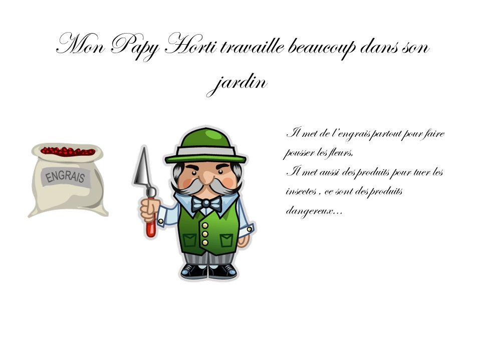 Mon Papy Horti travaille beaucoup dans son jardin Il met de lengrais partout pour faire pousser les fleurs, Il met aussi des produits pour tuer les in