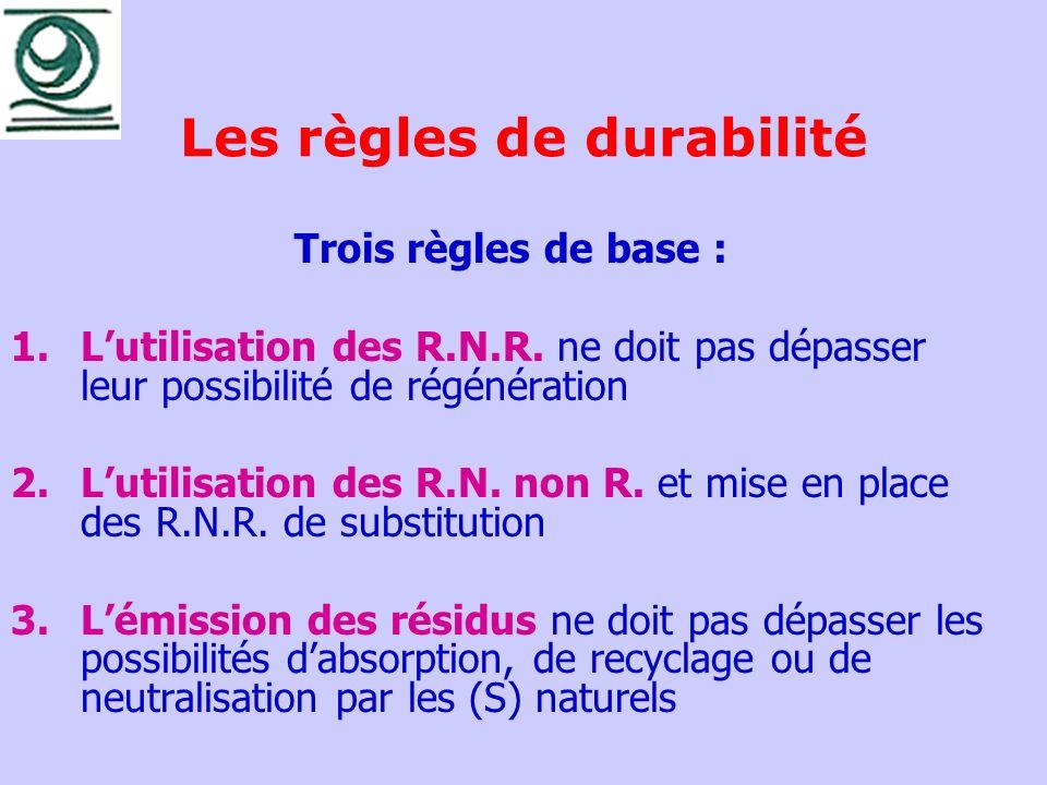 Les règles de durabilité Trois règles de base : 1.Lutilisation des R.N.R. ne doit pas dépasser leur possibilité de régénération 2.Lutilisation des R.N