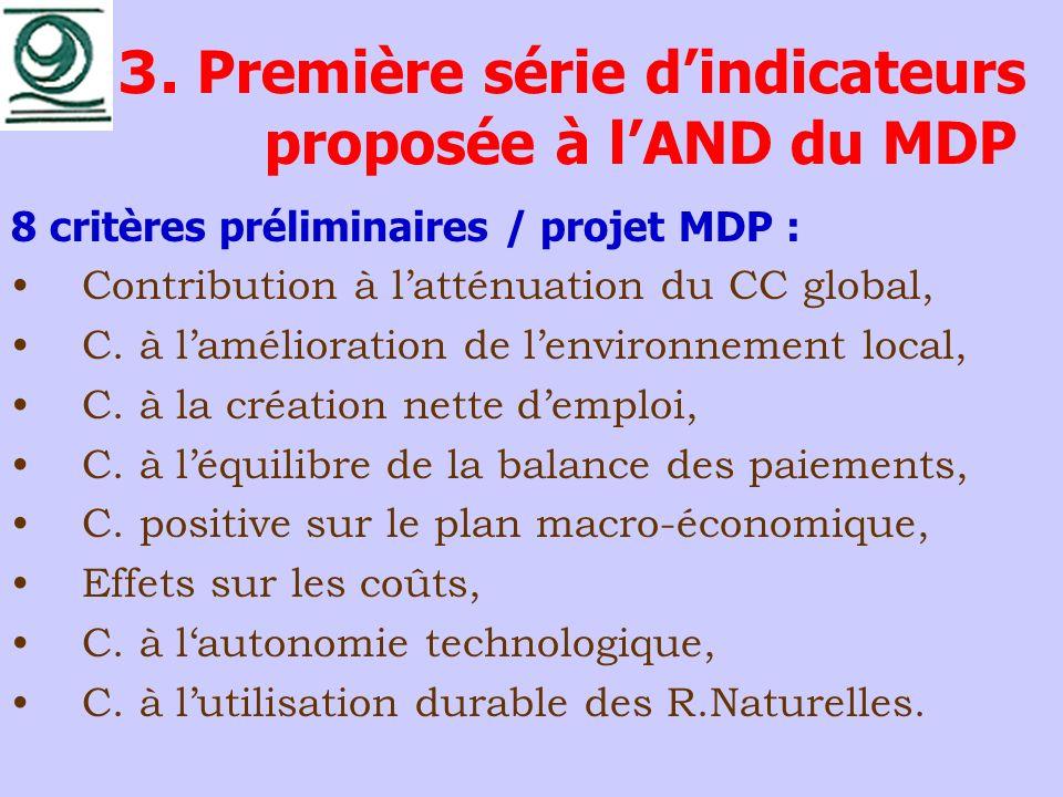 3. Première série dindicateurs proposée à lAND du MDP 8 critères préliminaires / projet MDP : Contribution à latténuation du CC global, C. à laméliora