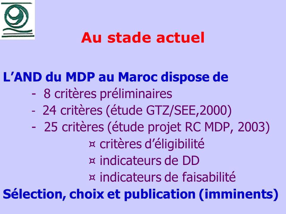 Au stade actuel LAND du MDP au Maroc dispose de - 8 critères préliminaires - 24 critères (étude GTZ/SEE,2000) - 25 critères (étude projet RC MDP, 2003