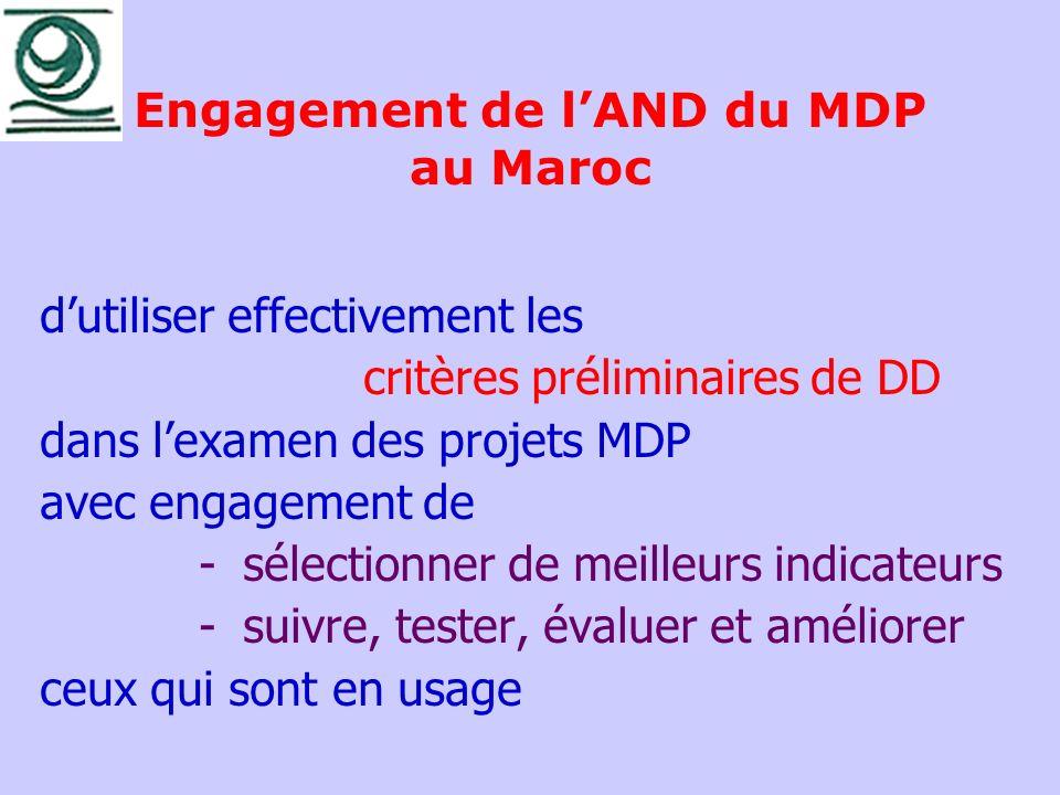 Engagement de lAND du MDP au Maroc dutiliser effectivement les critères préliminaires de DD dans lexamen des projets MDP avec engagement de -sélection