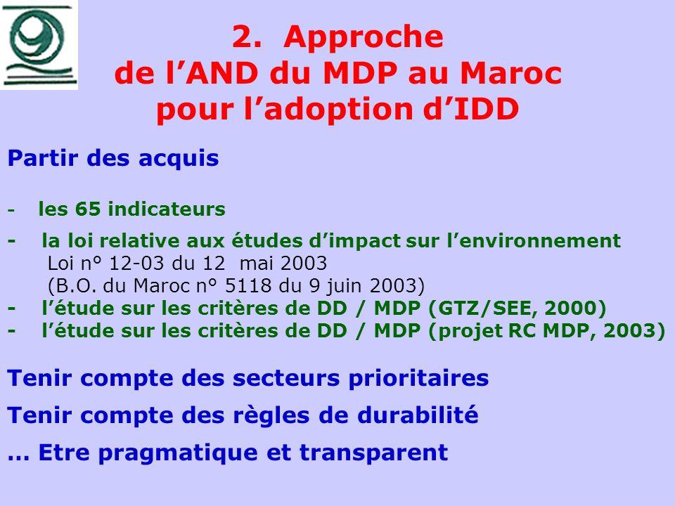 2. Approche de lAND du MDP au Maroc pour ladoption dIDD Partir des acquis - les 65 indicateurs - la loi relative aux études dimpact sur lenvironnement