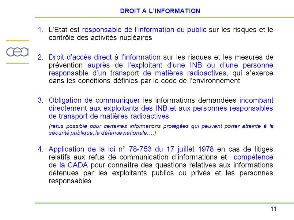 11 DROIT A LINFORMATION 1.LEtat est responsable de linformation du public sur les risques et le contrôle des activités nucléaires 2.Droit daccès direc