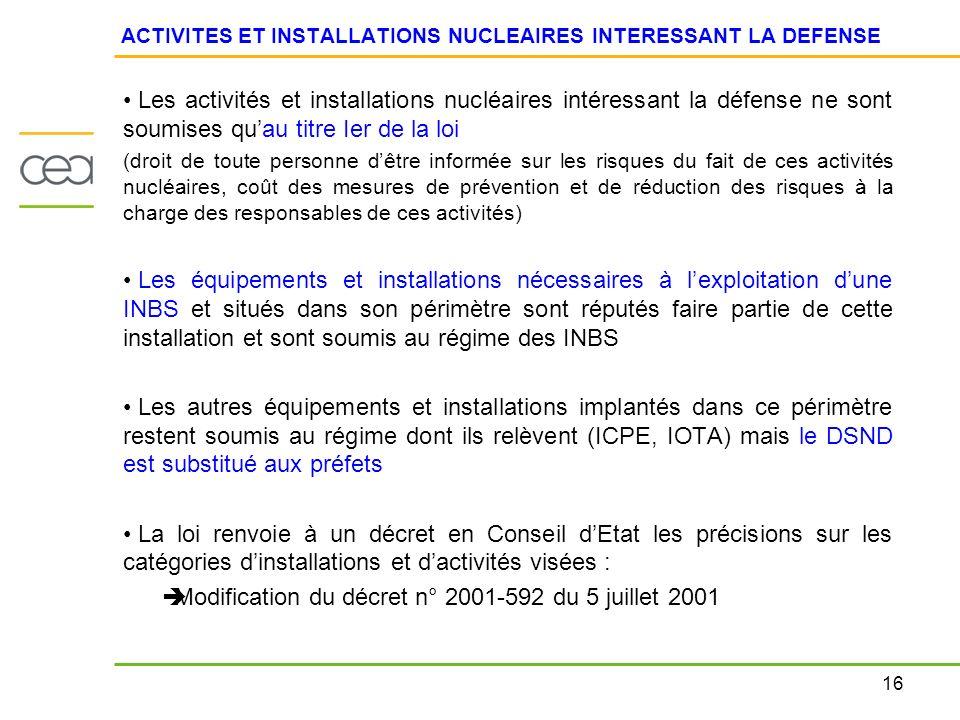 16 ACTIVITES ET INSTALLATIONS NUCLEAIRES INTERESSANT LA DEFENSE Les activités et installations nucléaires intéressant la défense ne sont soumises quau