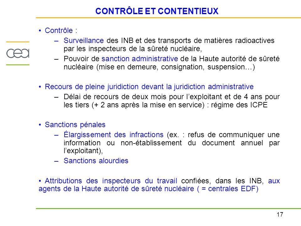 17 CONTRÔLE ET CONTENTIEUX Contrôle : –Surveillance des INB et des transports de matières radioactives par les inspecteurs de la sûreté nucléaire, –Po