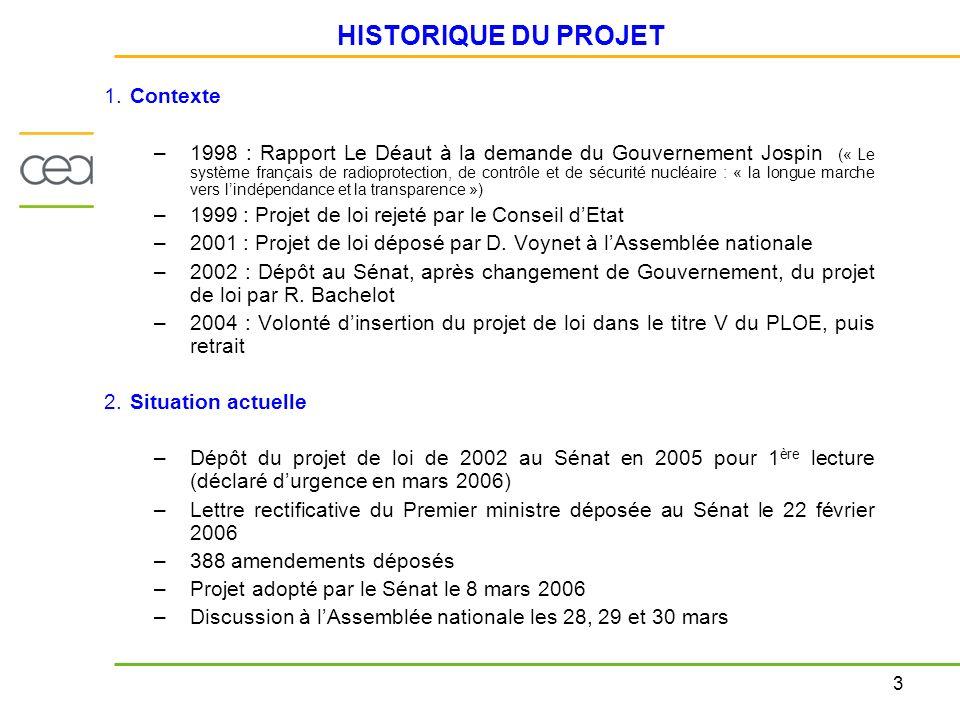 3 HISTORIQUE DU PROJET 1. Contexte –1998 : Rapport Le Déaut à la demande du Gouvernement Jospin (« Le système français de radioprotection, de contrôle