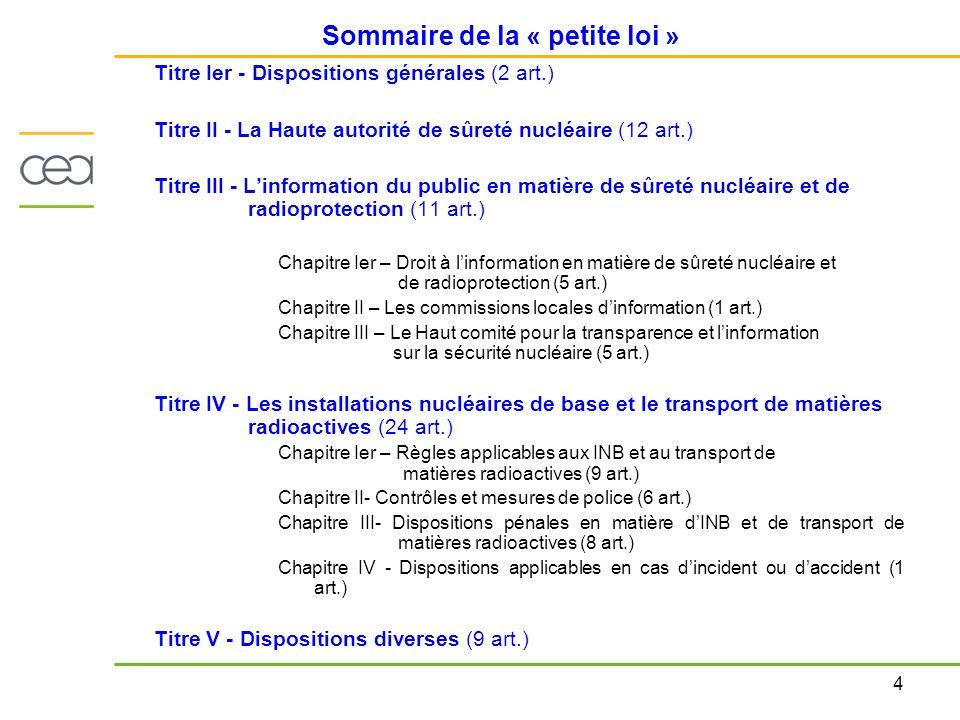 4 Sommaire de la « petite loi » Titre Ier - Dispositions générales (2 art.) Titre II - La Haute autorité de sûreté nucléaire (12 art.) Titre III - Lin