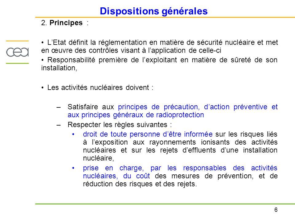 6 Dispositions générales 2. Principes : LEtat définit la réglementation en matière de sécurité nucléaire et met en œuvre des contrôles visant à lappli