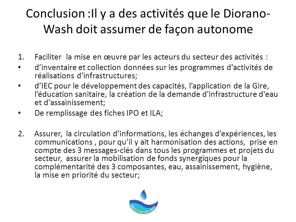 Conclusion :Il y a des activités que le Diorano- Wash doit assumer de façon autonome 1.Faciliter la mise en œuvre par les acteurs du secteur des activités : dinventaire et collection données sur les programmes d activités de réalisations d infrastructures; dIEC pour le développement des capacités, lapplication de la Gire, léducation sanitaire, la création de la demande d infrastructure d eau et d assainissement; De remplissage des fiches IPO et ILA; 2.