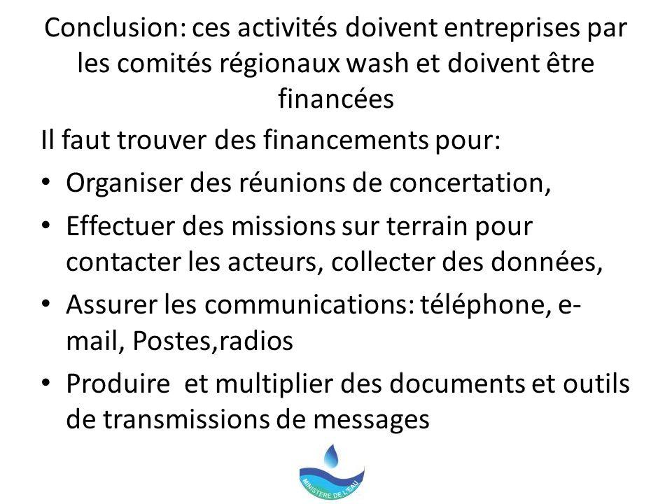 Conclusion: ces activités doivent entreprises par les comités régionaux wash et doivent être financées Il faut trouver des financements pour: Organise